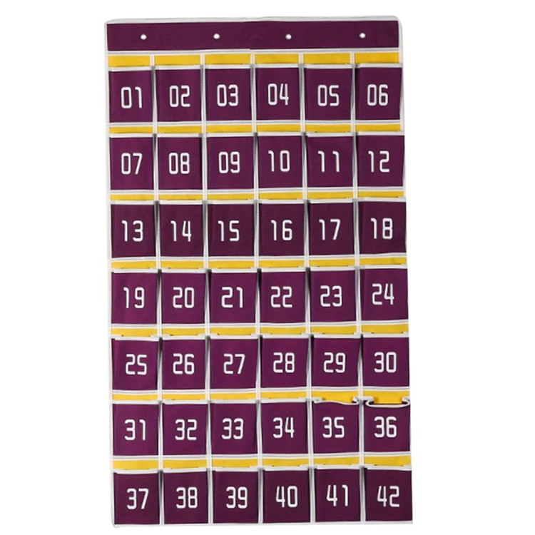 Classroom Numbered Hanging Wall Storage Pocket Chart for Cell Phones